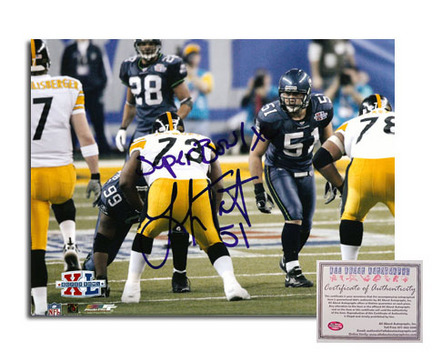 "Lofa Tatupu Seattle Seahawks Autographed 8"" x 10"" Photograph with ""Super Bowl XL"" and ""51"" Inscriptions (Unframed)"