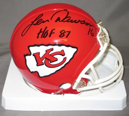 Len Dawson Kansas City Chiefs NFL Autographed Mini Football Helmet with HOF '87 Inscription AAA-76170