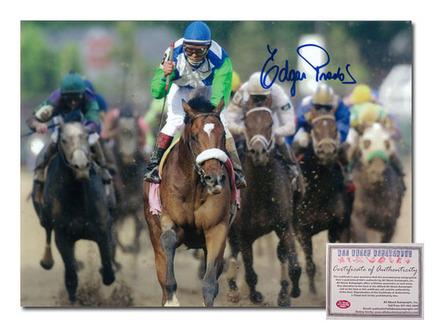 "Edgar Prado Barbaro Horse Racing Autographed ""2006 Kentucky Derby Front View"" 16"" x 20"" Photograph"