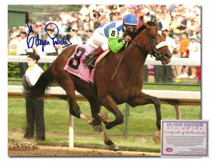 "Edgar Prado Barbaro Horse Racing Autographed ""2006 Kentucky Derby Against Rail"" 16"" x 20"" Photograph"