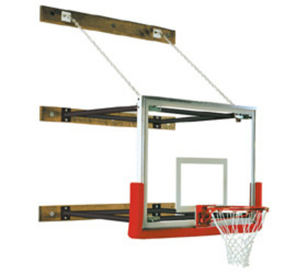 """109"""" - 132"""" Extension Wall-Braced Stationary Basketball Backstop from Spalding"""