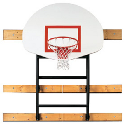 "133"" - 156"" Extension Wall-Braced Fold Up Basketball Backstop with Manual Winch from Spalding"
