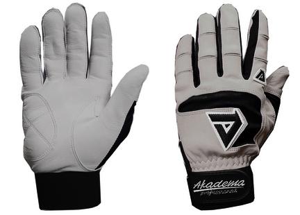 Akadema Professional Sheepskin Leather Adult Batting Gloves - 1 Pair (Black / Grey)