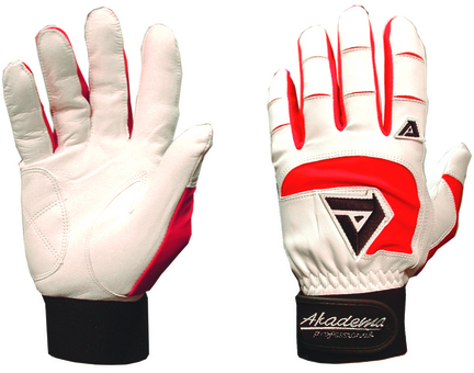 Akadema Professional Sheepskin Leather Adult Batting Gloves - 1 Pair (Red / White)
