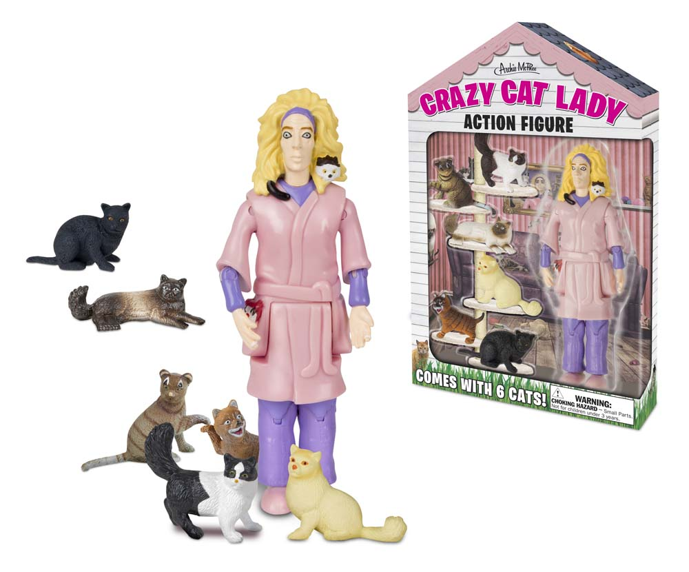Archie McPhee Crazy Cat Lady Action Figure Set ACC-12470