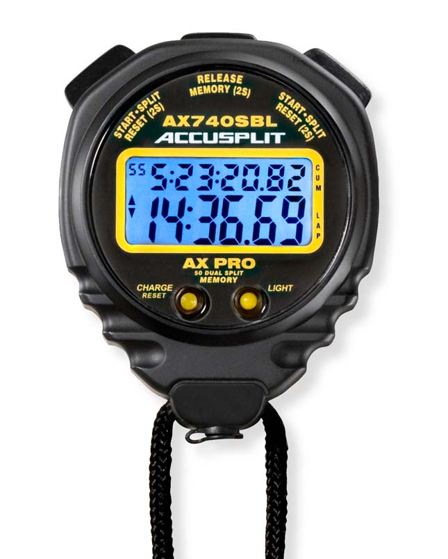 Accusplit AX740SBL AX Pro Memory Series Stopwatch with Charging Kit ACU-AX740SBLKIT