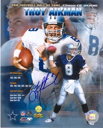 "Troy Aikman Autographed Hall of Fame Class 2006 8"" x 10"" Photograph (Unframed)"