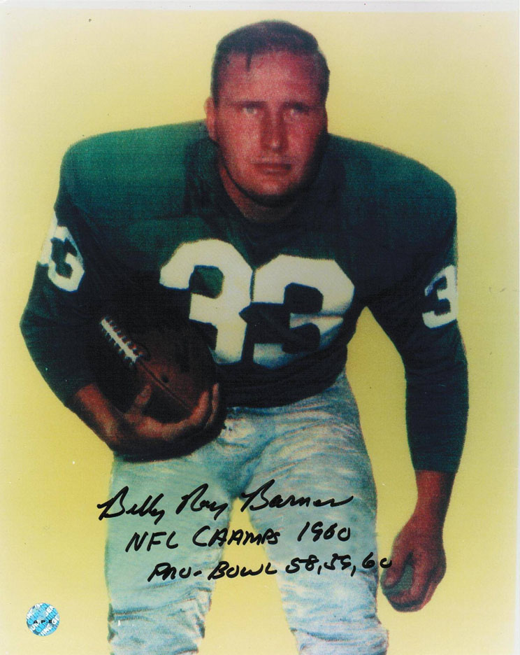 "Billy Ray Barnes Philadelphia Eagles Autographed 8"""" x 10"""" Unframed Photograph Inscribed """"NFL Champs 1960"""" and """"Pro)Bowl 58,59,60"""" (Running)"" APE-BARNES-BR-2INS-8X10"