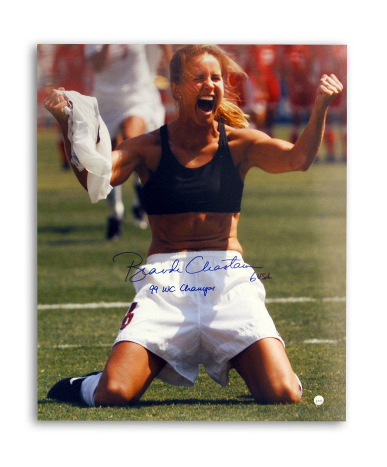 """Brandi Chastain Autographed Womens Team USA World Cup Soccer 16"""""""" x 20"""""""" Unframed Photograph Inscribed """"""""99 WC Champs"""""""" (Celebration)"""" APE-CHASTAIN-WCC-16X20"""