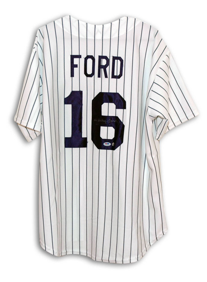 Whitey Ford New York Yankees Autographed Throwback MLB Baseball Jersey (Pinstripe)