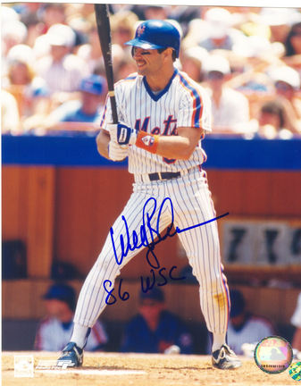 """Wally Backman Autographed New York Mets 8"""" x 10"""" Photograph Inscribed with """"'86 WSC"""" (Unframed)"""