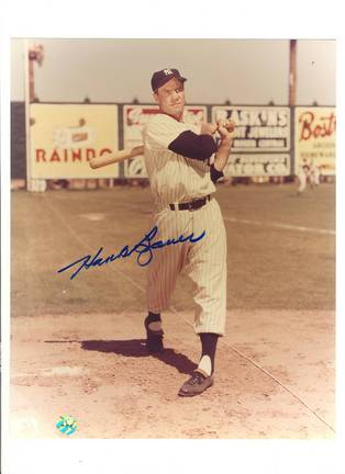 """Hank Bauer New York Yankees Autographed 8"""" x 10"""" Photograph (With Bat) (Unframed)"""