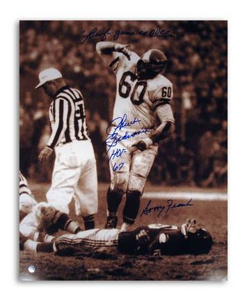 "Chuck Bednarik Philadelphia Eagles Autographed 16"" x 20"" Photograph Over Frank Gifford and Inscribed ""Sor"