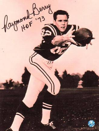 """Raymond Berry Autographed Action Shot 8"""""""" x 10"""""""" Unframed Photograph Inscribed with """"""""HOF 73"""" APE-BERRY-HOFBLK-8X10"""