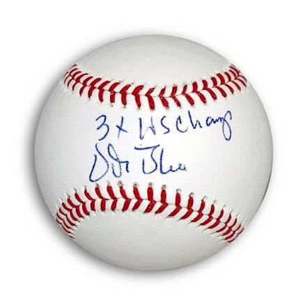 "Vida Blue Autographed OML Baseball Inscribed ""3X WS Champs"""