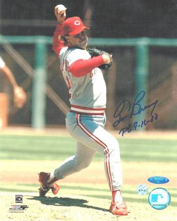 """Tom Browning Cincinnati Reds Autographed 8"""" x 10"""" Unframed Photograph Inscribed with """"PG 9-16-88"""""""