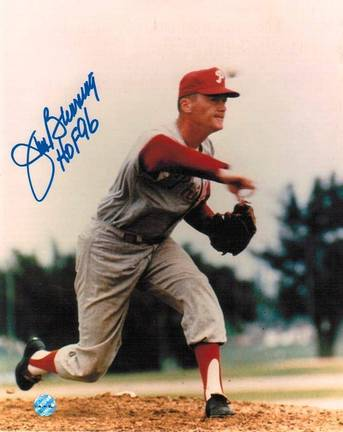 """Jim Bunning Philadelphia Phillies Autographed 8"""" x 10"""" Unframed Photograph Inscribed with """"HOF 96"""""""