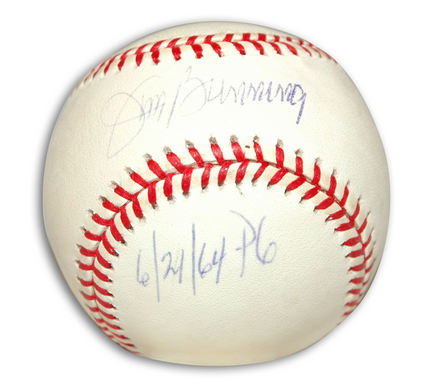 """Jim Bunning Autographed Baseball Inscribed with """"6 / 21 / 64 PG"""""""