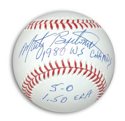 "Marty Bystrom Autographed MLB Baseball Inscribed ""1980 WS Champs"" and ""5-0 1.50 ERA"""