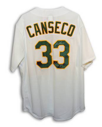 """Jose Canseco Oakland Athletics Autographed Majestic MLB Baseball Jersey Inscribed with """"88 AL MVP"""" (White)"""