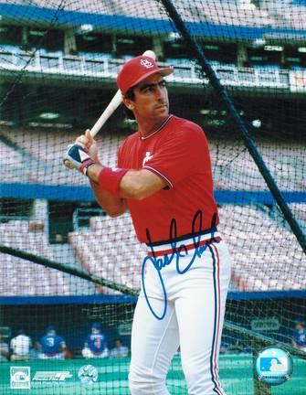 """Jack Clark Autographed """"Batting Cage"""" St. Louis Cardinals 8"""" x 10"""" Photo"""