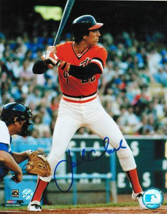 """Jack Clark Autographed """"At The Plate In Orange Jersey"""" San Francisco Giants 8"""" x 10"""" Photo"""