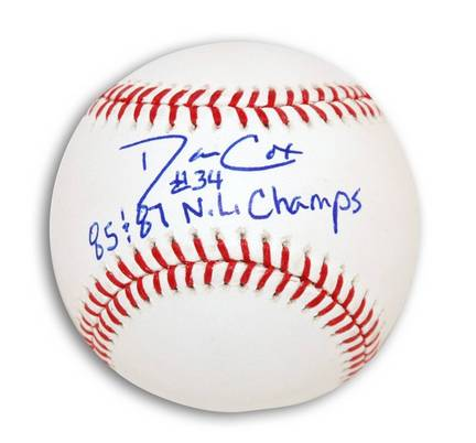 """Danny Cox Autographed MLB Baseball Inscribed with """"85 & 87 NL Champs"""""""