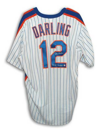 """Ron Darling New York Mets Autographed White Pinstriped Majestic Jersey Inscribed with """"86 WS Champs"""""""