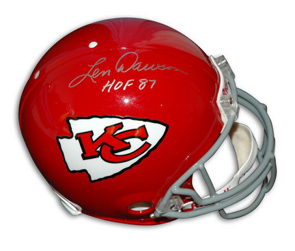 "Len Dawson Autographed Kansas City Chiefs Throwback Full Size Helmet with """"HOF 87"""" Inscription"" APE-DAWSON-HOF-H"