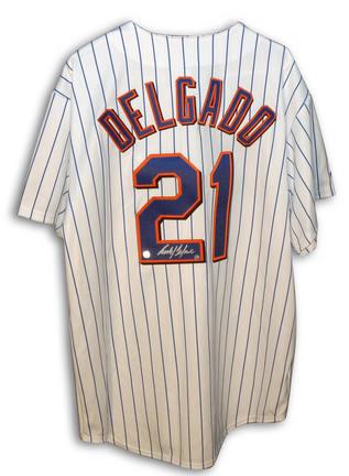 Carlos Delgado Autographed New York Mets Majestic White Pinstripe Jersey