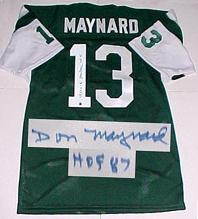 """Don Maynard New York Jets Autographed Throwback Green Jersey with """"HOF 87"""" Inscription"""