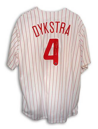 "Lenny Dykstra Philadelphia Phillies Autographed Majestic MLB Baseball Jersey Inscribed with ""93 NL Champs"" (Pi"