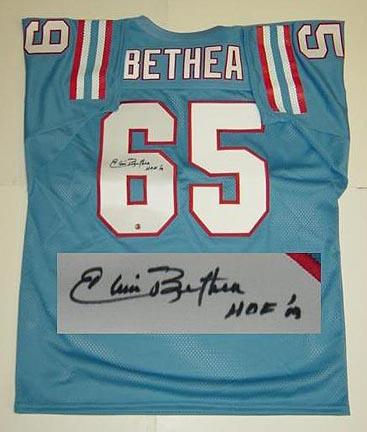 "Elvin Bethea Houston Oilers NFL Autographed Throwback Jersey ""HOF 03"" Inscription"
