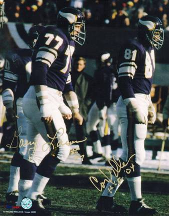 """Carl Eller and Gary Larsen Autographed Minnesota Vikings Dual Signed 8"""" x 10"""" Photo Inscribed """"HOF 04&quo"""