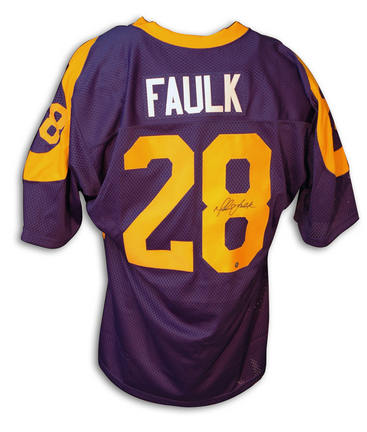 Marshall Faulk Autographed St. Louis Rams Throwback Blue Jersey