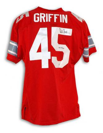 """Archie Griffin Ohio State Buckeyes Autographed Red Throwback Jersey Inscribed with """"H.T. 74/75"""""""