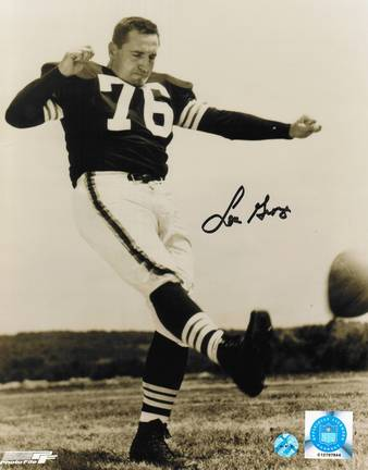 """Lou Groza Cleveland Browns Autographed 8"""" x 10"""" Black and White Kicking Photograph (Unframed)"""