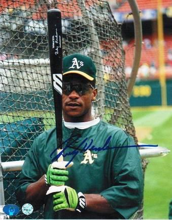 "Rickey Henderson Oakland Athletics Autographed ""Batting Cage"" 8"" x 10"" Unframed Photograph"