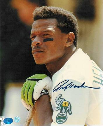 "Rickey Henderson Oakland Athletics Autographed ""Leaning"" 8"" x 10"" Unframed Photograph"