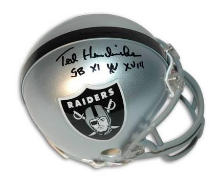 """Ted Hendricks Oakland Raiders Autographed Mini Helmet Inscribed """"SB XI XV XVIII"""""""