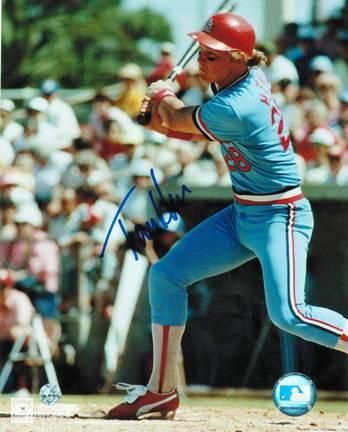 "Tommy Herr Autographed ""Blue Jersey"" St. Louis Cardinals 8"" x 10"" Photo"