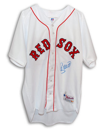 Shea Hillenbrand Boston Red Sox Autographed Authentic Russell Athletic MLB Baseball Jersey Signed in Blue Sharpie (White