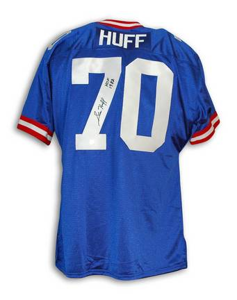 """Sam Huff Autographed New York Giants Blue Throwback Jersey Inscribed """"HOF 82"""""""