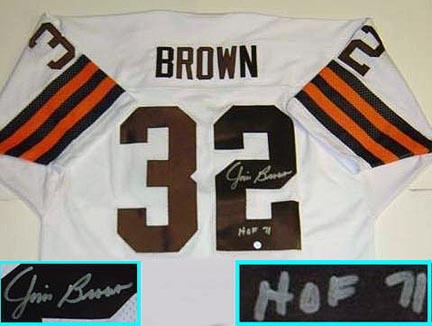 """Jim Brown, Cleveland Browns NFL Authentic Autographed White Throwback Jersey  with """"HOF 71"""" Inscription"""
