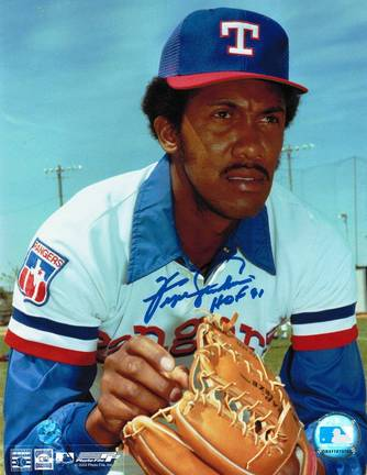 """Ferguson Jenkins Autographed """"Looking for the Sign"""" Texas Rangers 8"""" x 10"""" Photo Inscribed """"HOF"""
