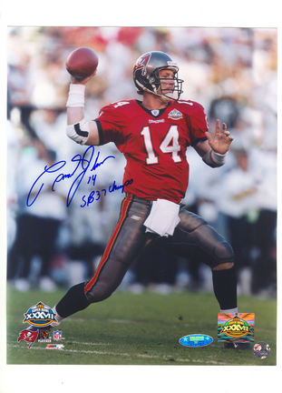 """Brad Johnson Tampa Bay Buccaneers Autographed 8"""" x 10"""" Photograph Inscribed """"SB 37 Champs"""" and &quot"""