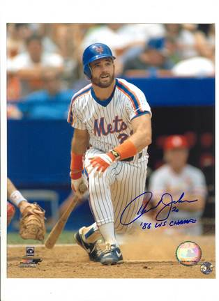 """Howard Johnson New York Mets Autographed 8"""" x 10"""" Photograph Inscribed with """"86 WS Champs"""" (Unframed"""