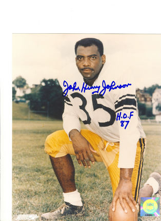 """John Henry Johnson Pittsburgh Steelers Autographed 8"""" x 10"""" Photograph Inscribed with """"HOF 87"""" (Unfr"""