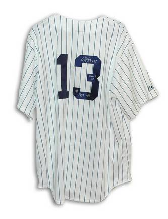 """Jim Leyritz Autographed New York Yankees Pinstripe Majestic Jersey Inscribed """"Game 4 HR 1996 WS"""""""