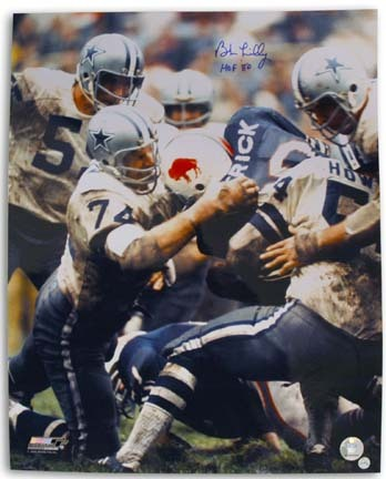 """Bob Lilly Autographed Dallas Cowboys 16"""" x 20"""" Photograph Inscribed with """"HOF 80"""" (Unframed)"""